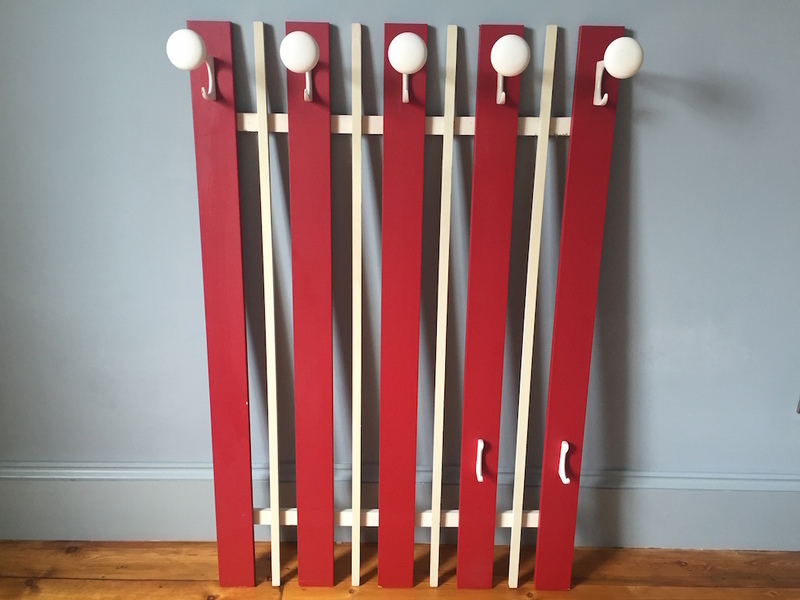 Red And White Wooden Coat Rack