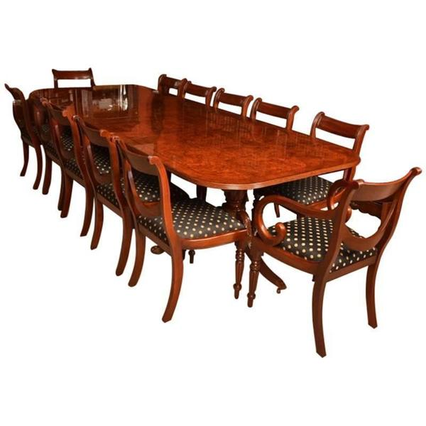 Burr Walnut 10ft Regency Style Dining Table 12 Swag Chairs