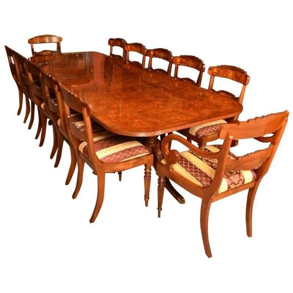 Burr Walnut 10ft Regency Style Dining Table & 12 Chairs