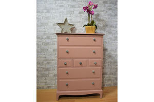 Thumb vintage pink stag minstrel tall boy chest of 7 drawers unknown 0