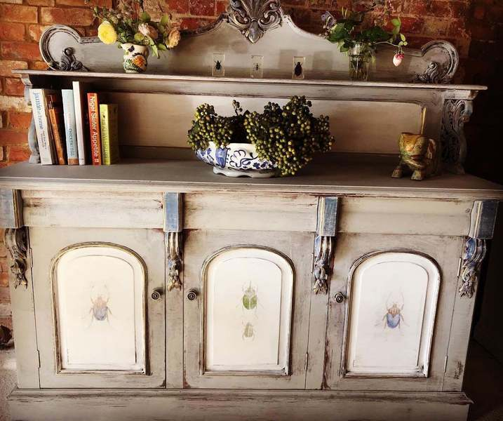 Antique French Upcycled Grey Painted Sideboard Shabby Chic Sideboard Chiffonier Kitchen Cabinet Unknown Vinterior