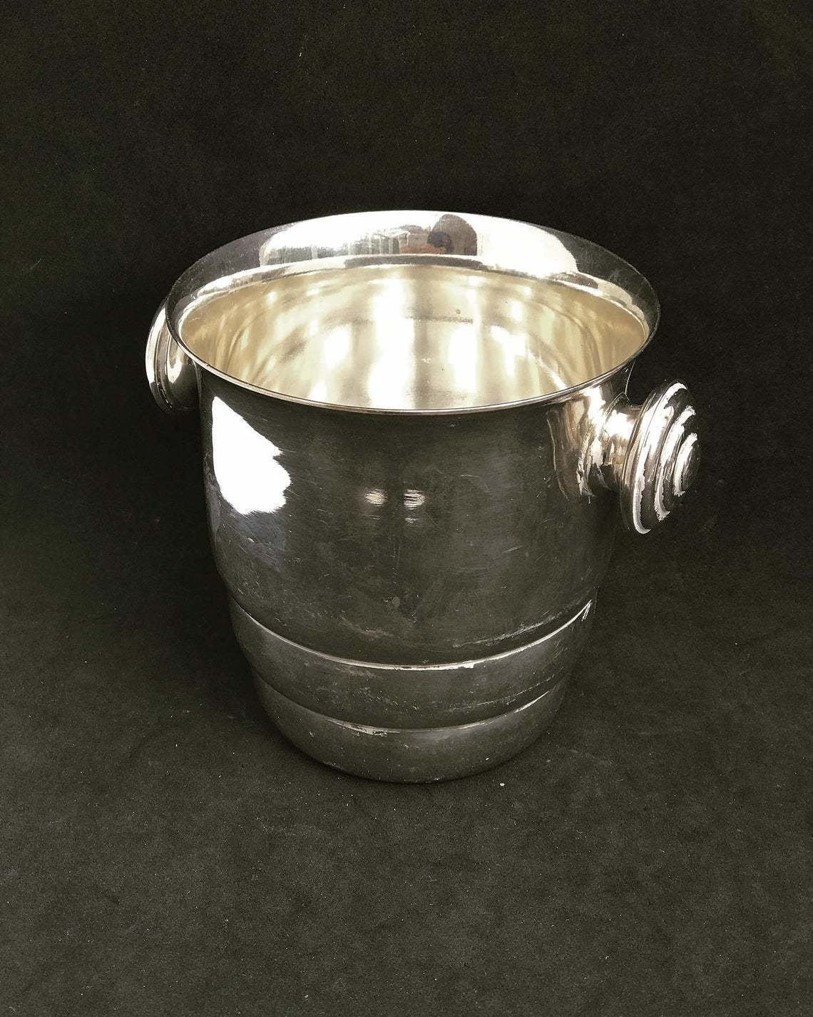 Art Deco Ice Bucket Silver Plated Sivar 1920s Bar Cart Decor Christmas Table Wine Chiller Cooler Gift For Wedding Gift Man Cave Vinterior