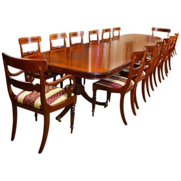 14 Ft Three Pillar Mahogany Dining Table And 14 Chairs photo 1