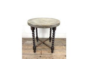 Thumb antique middle eastern design brass top folding table 1920s 0