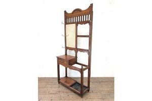 Thumb antique oak arts crafts mirrored hall stand 1910s 0