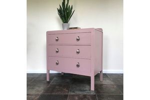 Thumb mid century painted upcycled chest of drawers in farrow and ball sulking room pink bedroom storage yellow pigeon bespoke furniture 0
