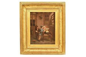 Thumb antique painting children playing painting oil painting on wood xix century qr268 0
