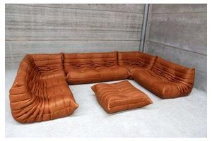Thumb large set of togo by michel ducaroy for ligne roset in funky full grain leather 1970s 0