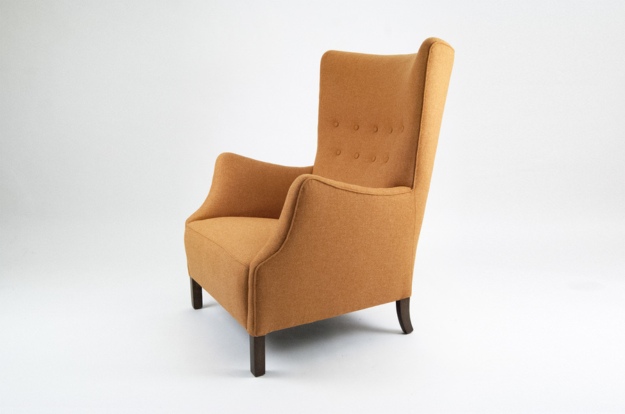 Danish Orange Wing Chair photo 1