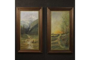 Thumb pair of french paintings landscapes in impressionist style 1900s 0