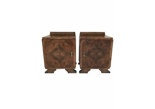 Pair Of Art Deco Side Cabinets Or Nightstands With Ebonized Base And Crest, 1930s
