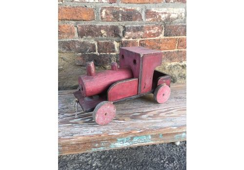 Beautiful Vintage Painted Wooden Train  Engine