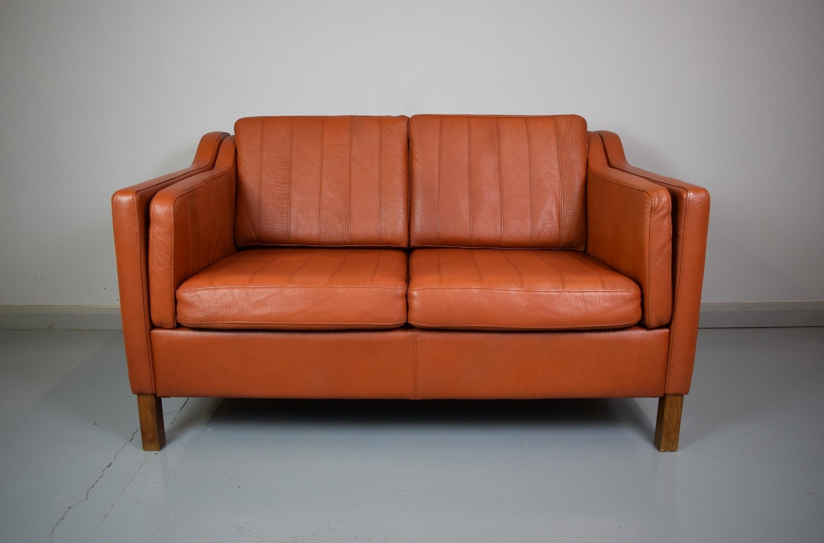 Enjoyable Mid Century Retro Danish Tan Brown Leather Mogensen Style 2 Seat Sofa Loveseat Dailytribune Chair Design For Home Dailytribuneorg