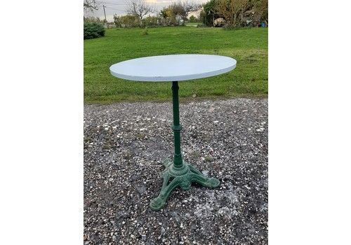 Cast Iron, Wood And Formica Top Bistro Table