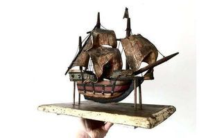 Thumb beautifully crafted antique hand made hand painted wooden tall ship galleon on wooden stand 1800s 0