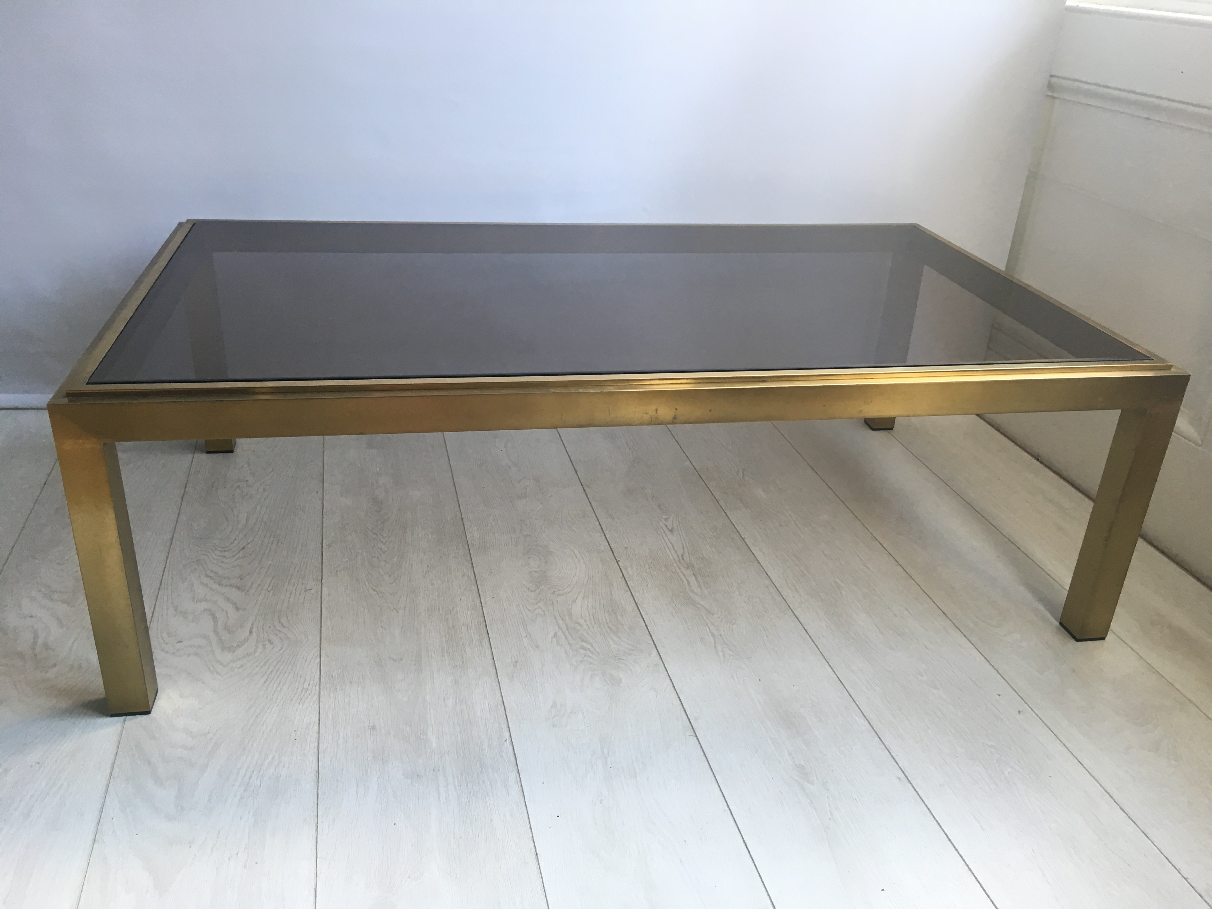 Vintage French Brass And Glass Coffee Table Vinterior