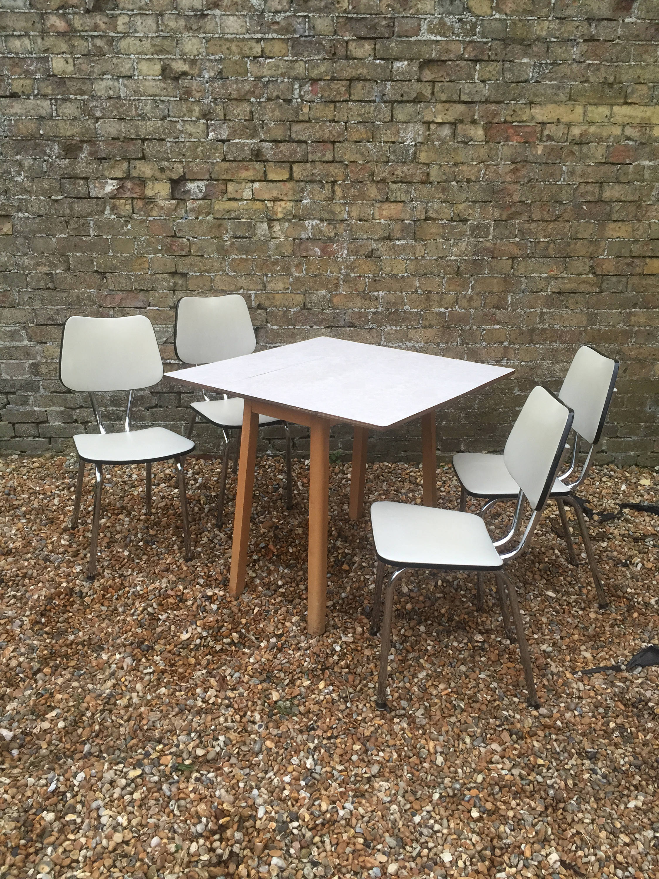 Mid Century 1960s Formica And Beech Kitchen Dining Table With Four Chrome And Vinyl Kitchen Dining Chairs 1960s Dining Set Cream Dining Set Vinterior