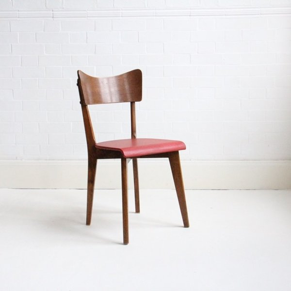Wood And Red Vinyl French Dining Chair photo 1