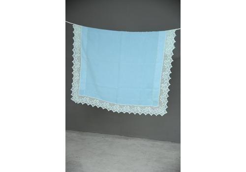 Large Antique Blue Crochet Lace Tablecloth