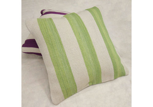 Large Striped Kilim Cushion Cover, Handmade Green And Cream Wool Scatter Cushion