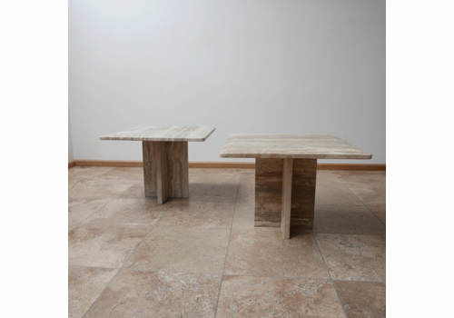 Pair Of Travertine Mid Century Side Tables