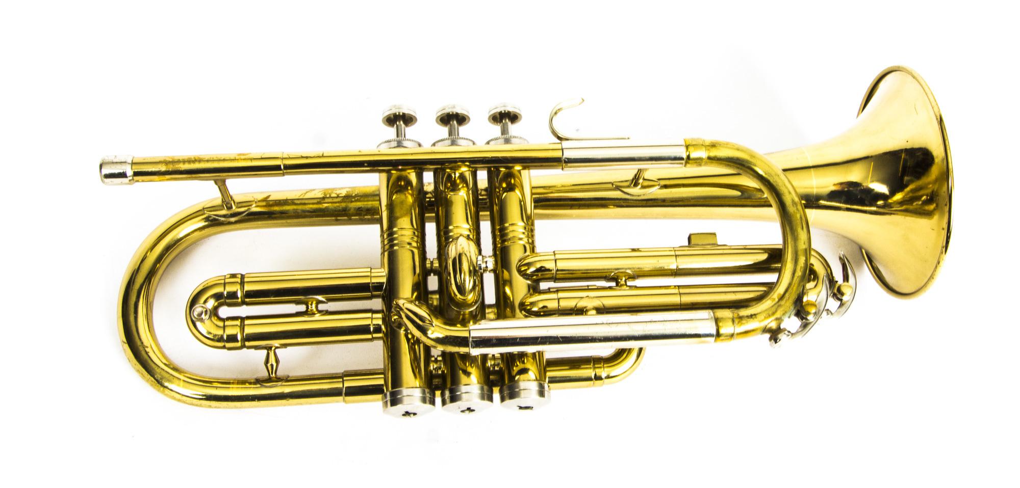 Vintage Brass Cornet Trumpet By Conn Original Case Mother Of Pearl Keys