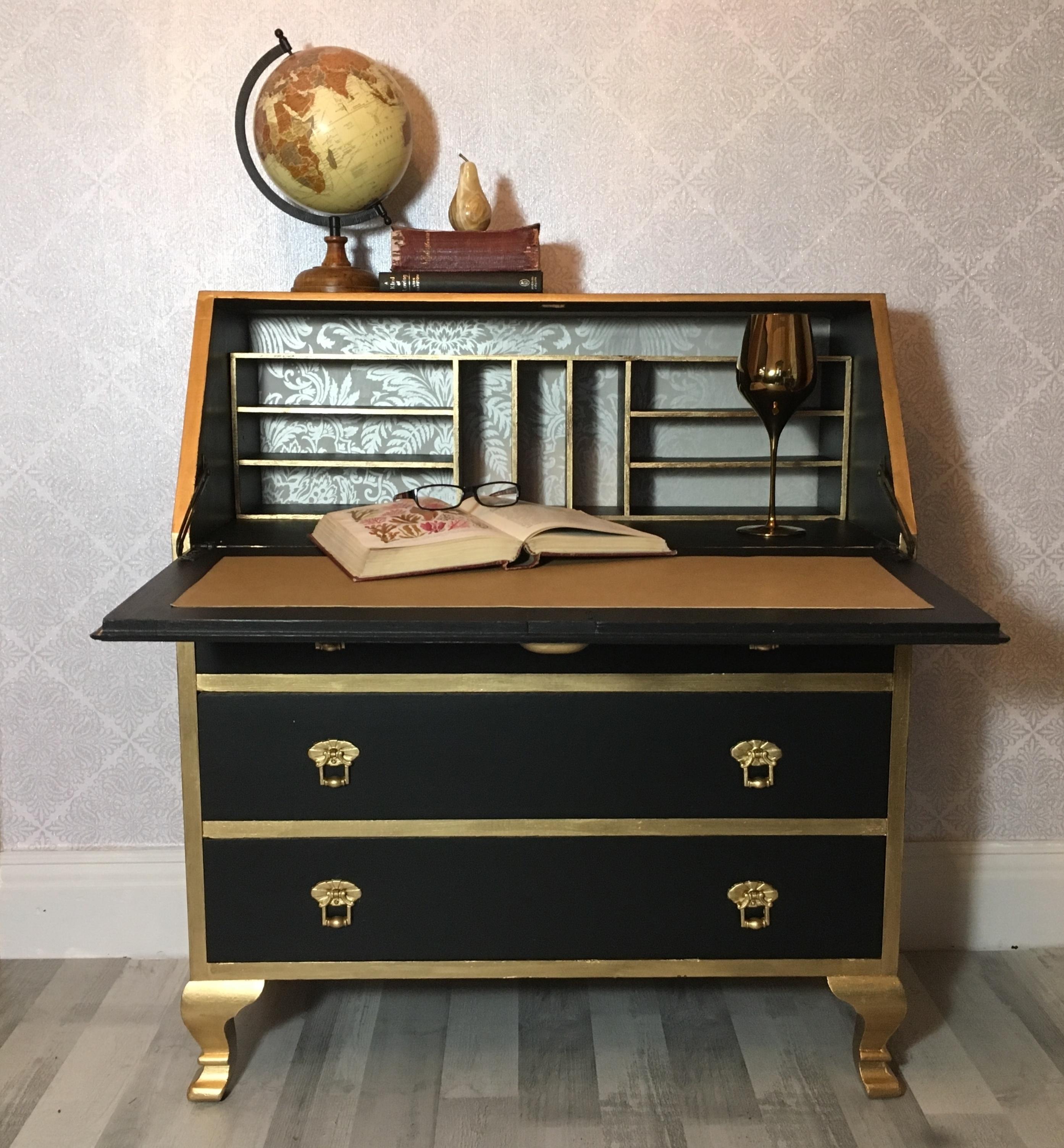 Vintage Writing Desk Bureau Black And Gold