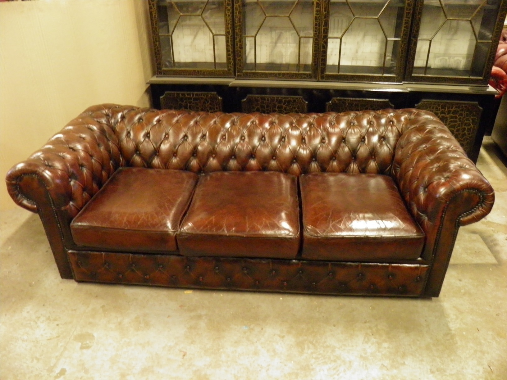 Vintage Distressed Brown Shabby Chic Chesterfield 3 Seater Sofa