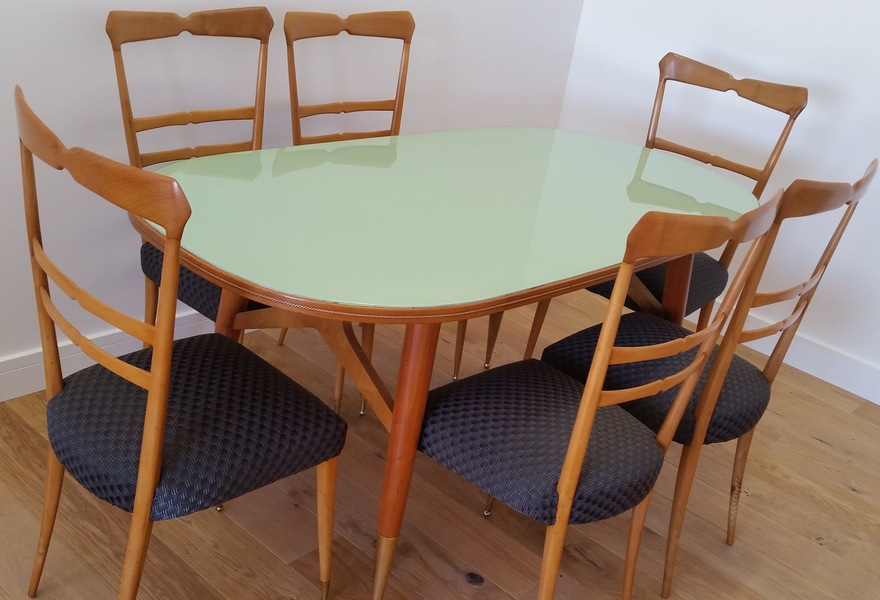 Mid 20 Th Century Design Ico And Luisa Parisi Dining Table And Six Chairs