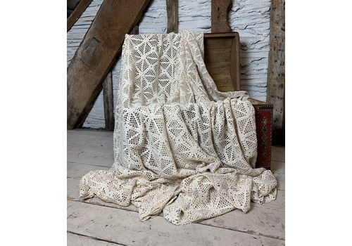 Vintage French Crochet Work Bed Cover Or Throw In A Soft Cream Colour