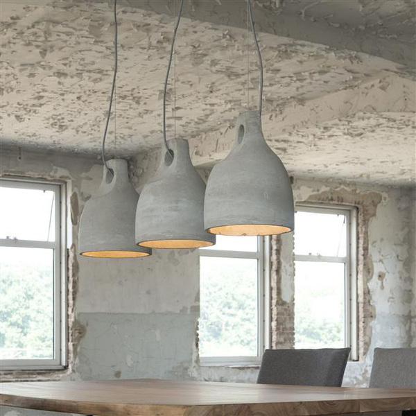 Industrial Concrete Bell Pendant Ceiling Lamps. Set Of 3.