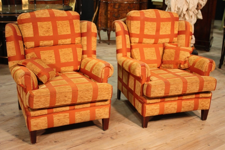 Pair Of Armchairs In Fabric From The 80s/90s
