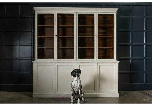 19th C Large Oak Painted Glazed Bookcase