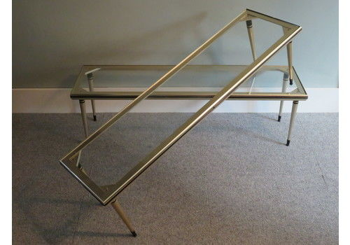 2 Display Tables Of The 1950 S Glass And Chrome, In Good Condition.