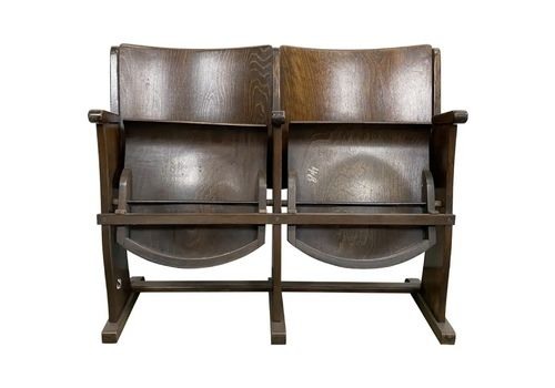 Vintage Two Seat Cinema Bench From Ton, 1950s, 10x