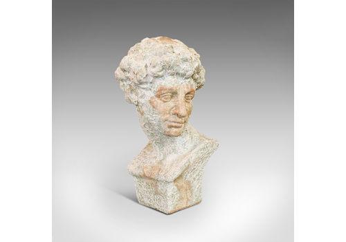Vintage Male Bust, English, Terracotta, Figure, Neo Classical, David, Circa 1950