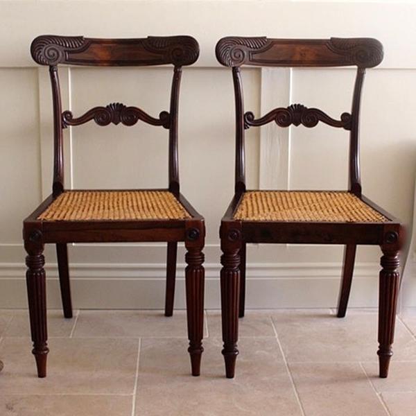 Pair Of Regency Rose Wood Chairs photo 1
