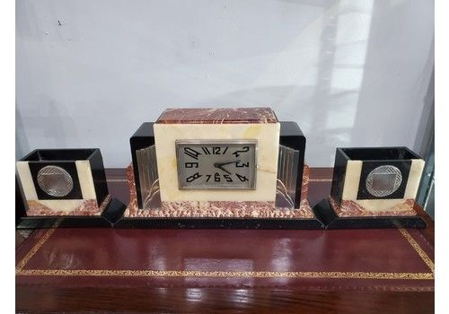 French Art Deco Marble Mantle Clock With Garnitures C1930