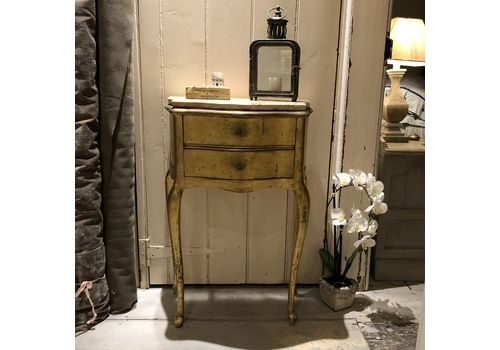 Gorgeous Gold Gilded French Country Vintage Bedside Table / Cabinet / Chest Of Drawers With Pink Marble Top