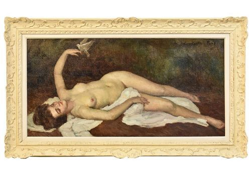 Nude Oil Painting, Nude Woman Lying Oil Painting, Oil On Canvas, 20 Th Century. (Qn195)