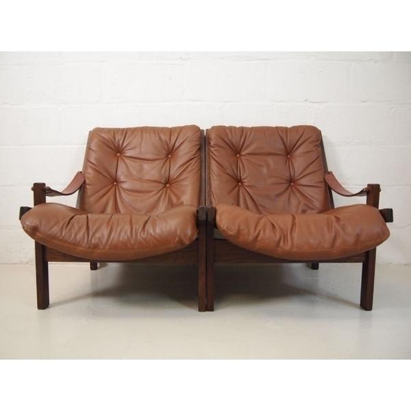 Midcentury Scandinavian Leather Modular Sofa
