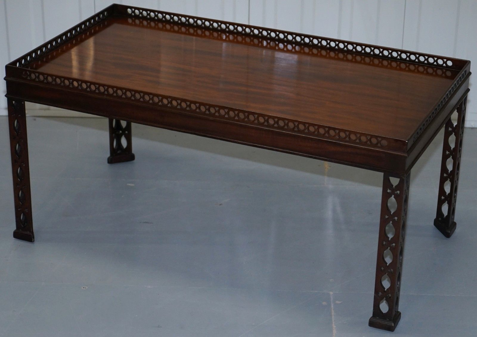 Fretwork Coffee Table.Mahogany Chinese Chippendale Style Silver Tea Of Coffee Table Fret Work Carved
