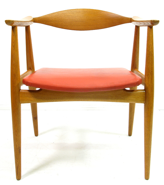 Hans Wegner For Carl Hansen Ch 35 Chair In Oak And Red Leather
