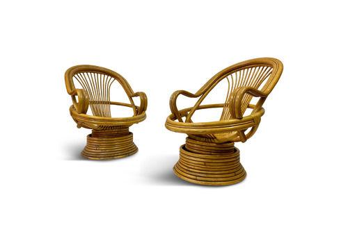 Pair Of 1970s Italian Bamboo Swivel Armchairs
