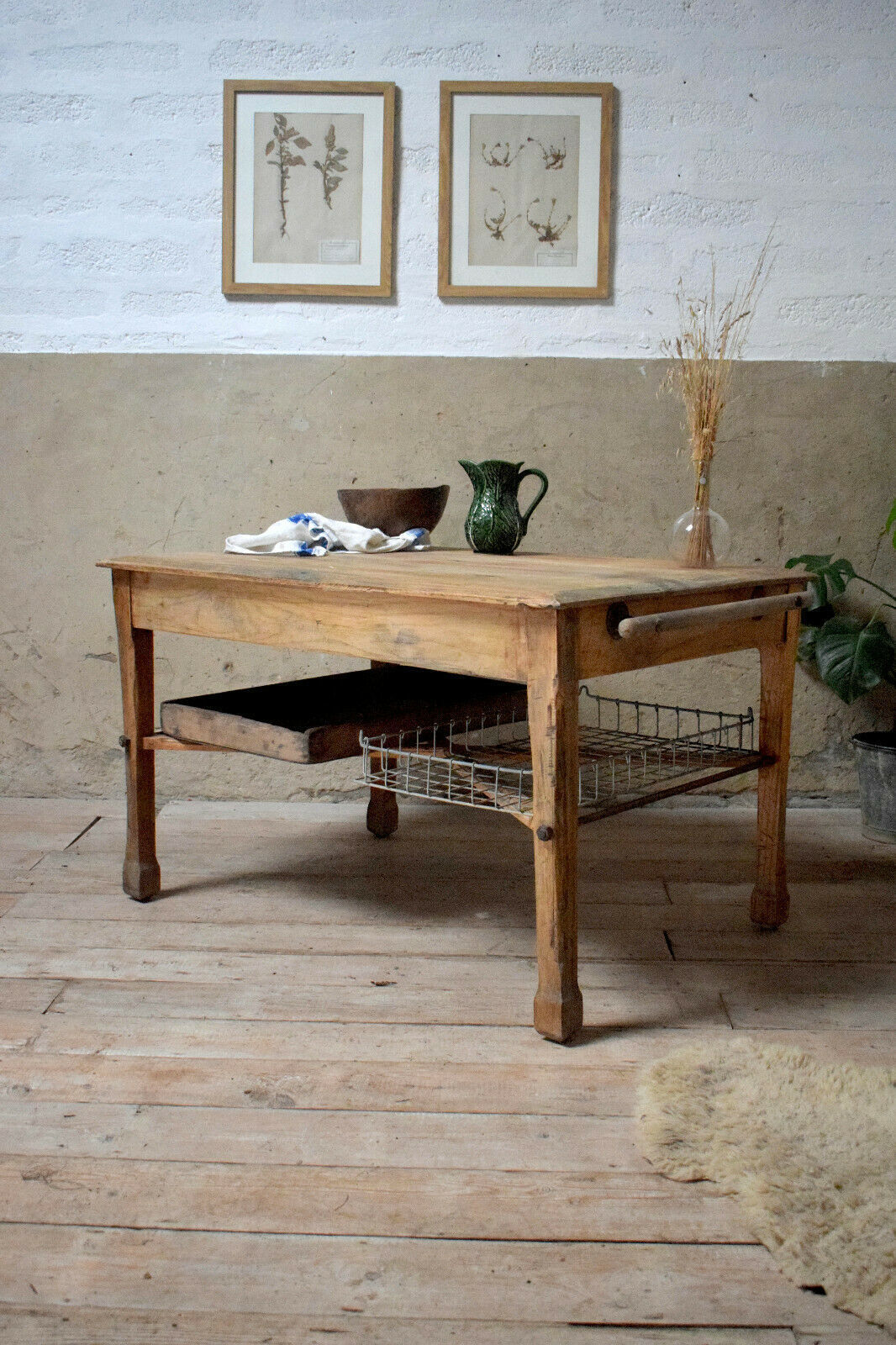 Antique Vintage Rustic Bakers Bread Prep Table With Trays Kitchen Dining Table Vinterior