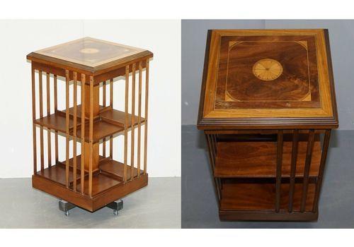 Circa 1900 Edwardian Burr Walnut & Satinwood Revolving Bookcases Sheraton Inlaid