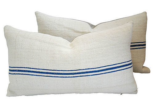 Hungarian Grain Sack & Linen Pillows With Navy Stripe, Pair