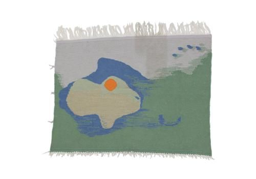 Mid Century Organic Abstract Hand Made Deisgn Wall Tapestry   1950s