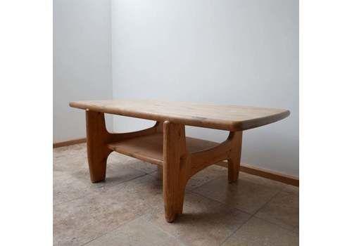 Large Danish Mid Century Free Form Pine Coffee Table