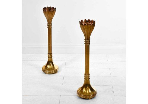 Pair Of Vintage Brass Floor Standing Candle Stands With Flared Scalloped Uppers A